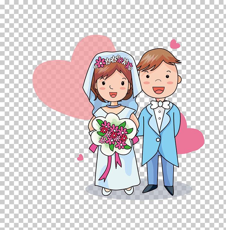 Novios, caricatura del novio de invitación de boda, novios.