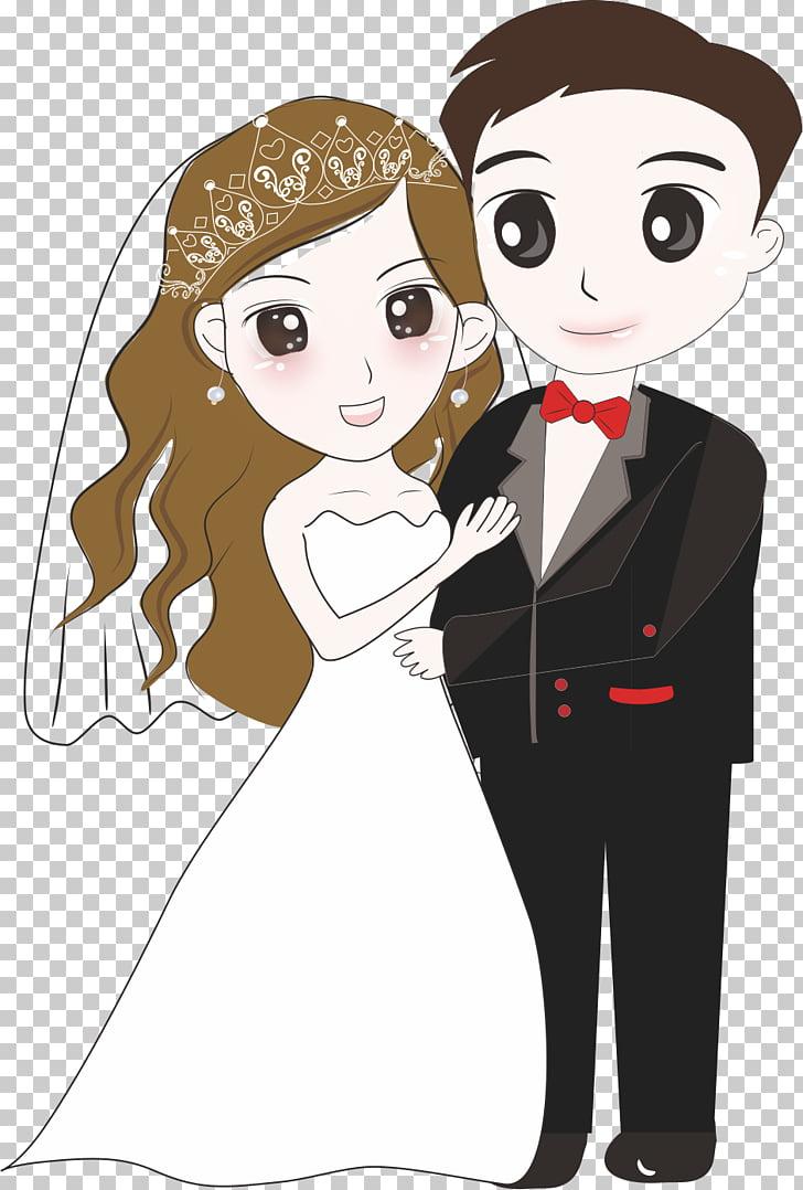 Ilustración de pareja de novios, novios, caricatura, novios.