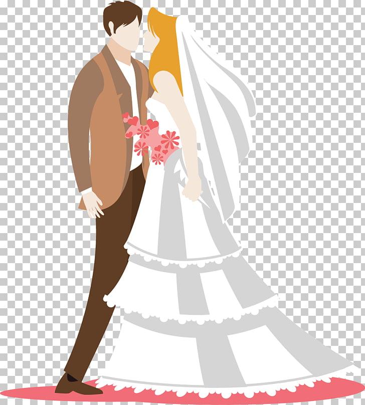 Boda novio ilustración, plana novia y novio PNG Clipart.