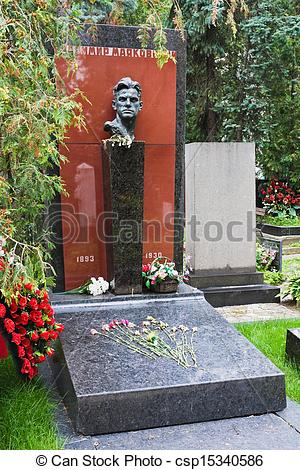 Pictures of Tomb of Vladimir Mayakovsky in the Novodevichy.