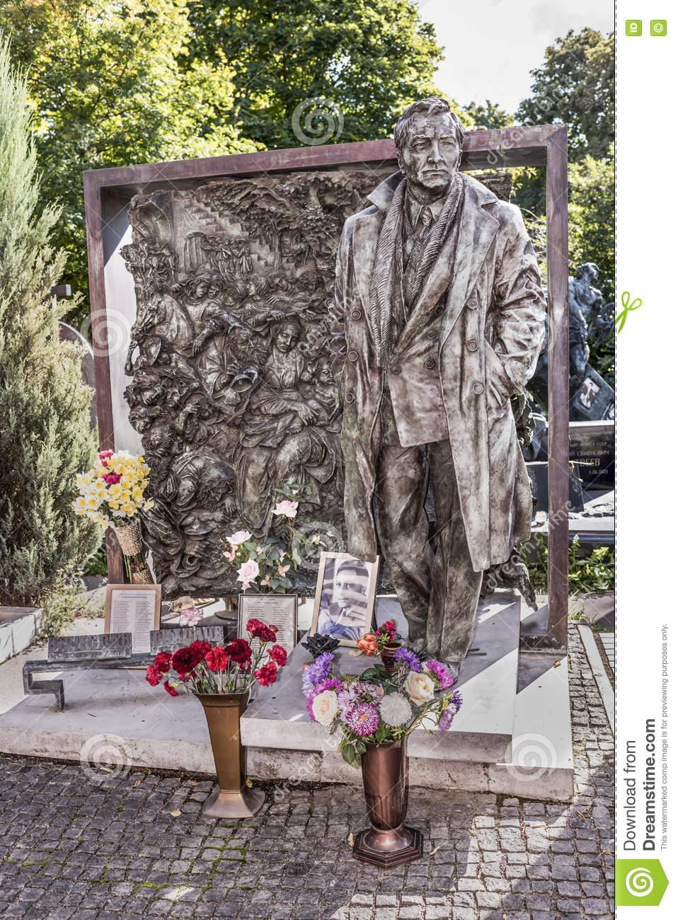 Novodevichy Cemetery. Grave Actor Vyacheslav Tikhonov Editorial.
