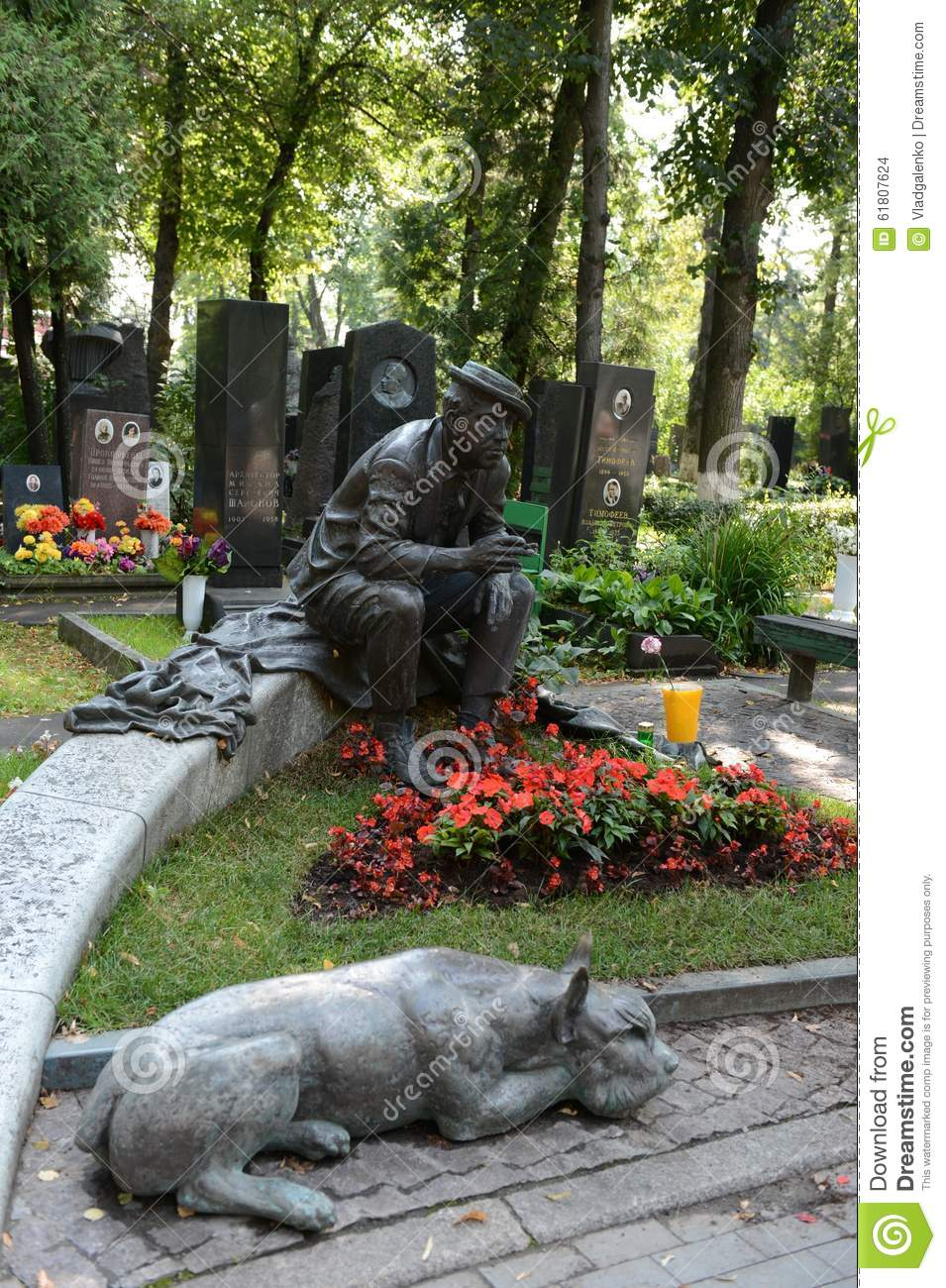 The Grave Of Actor Yuri Nikulin At The Novodevichy Cemetery In.