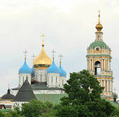 Stock Photograph of Domes of the Novospassky Monastery in Moscow.
