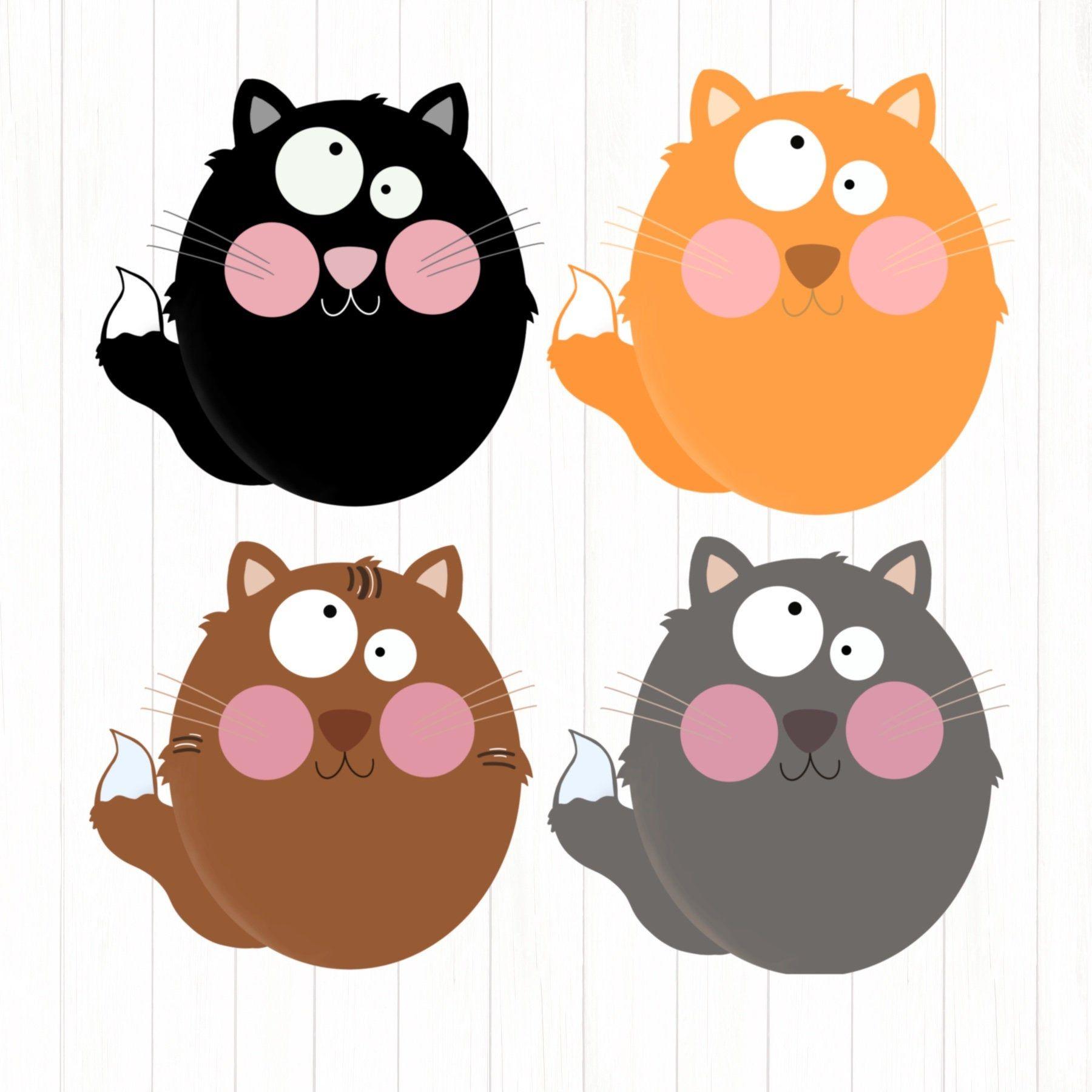 Crazy Cats Clipart, Funny Cats, Cats Clipart, Clip art, Cute.