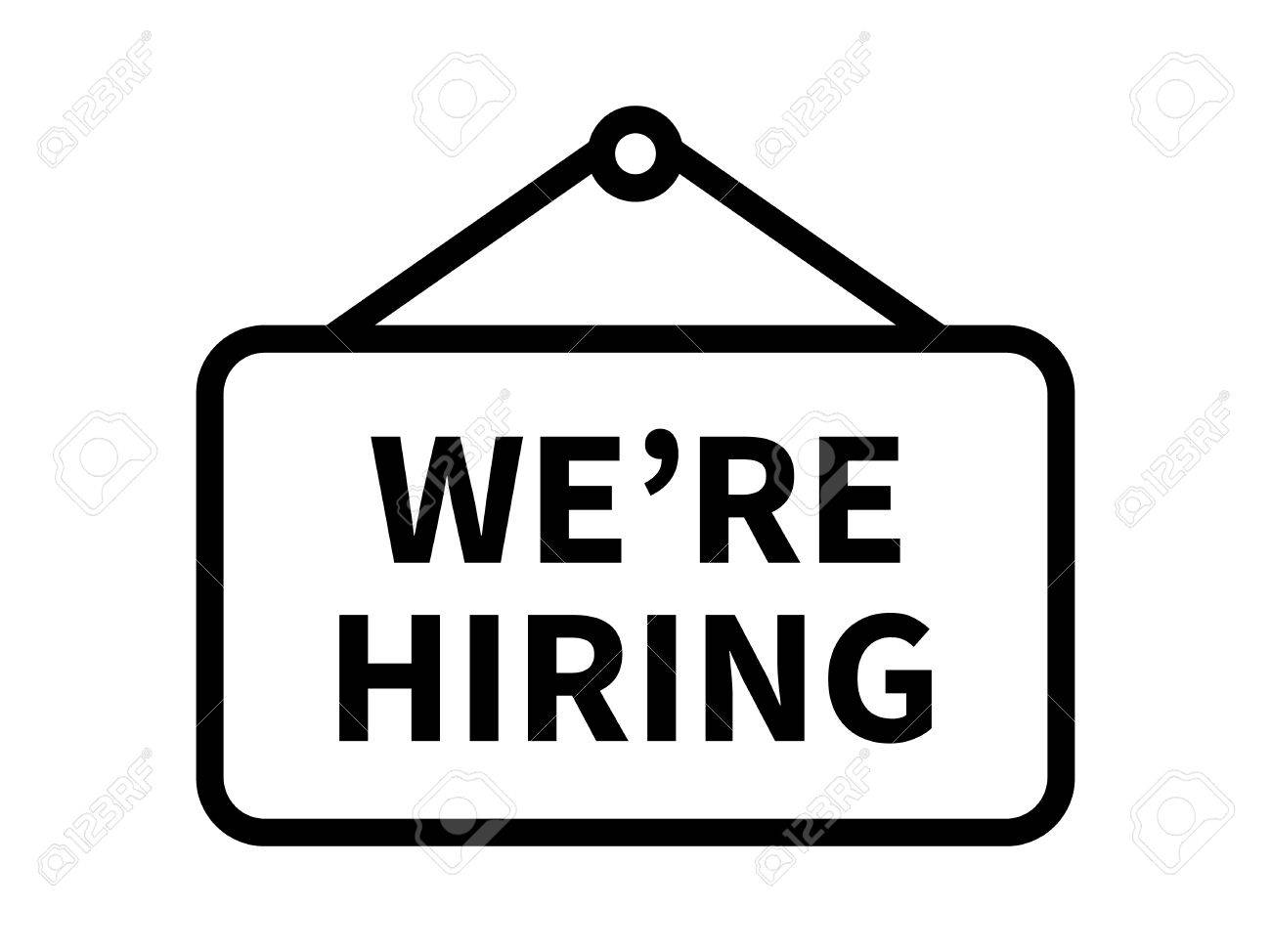 We're / we are now hiring sign line art icon for apps and websites.