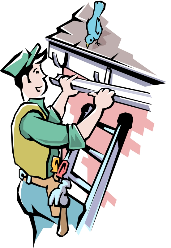 Roof Gutters and Downspouts Clip Art.