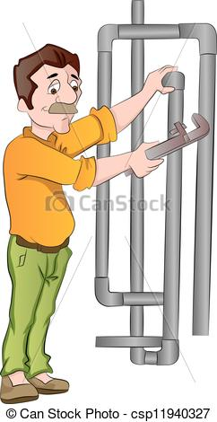 Vector Illustration of Plumber Fixing Pipes, illustration.