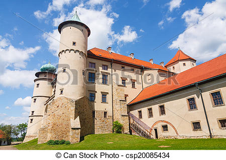 Stock Photos of View of Nowy Wisnicz castle, Poland.