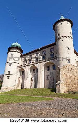 Pictures of view on castle Nowy Wisnicz in Poland on a background.
