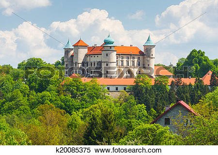 Stock Image of View of Nowy Wisnicz castle, Poland k20085375.