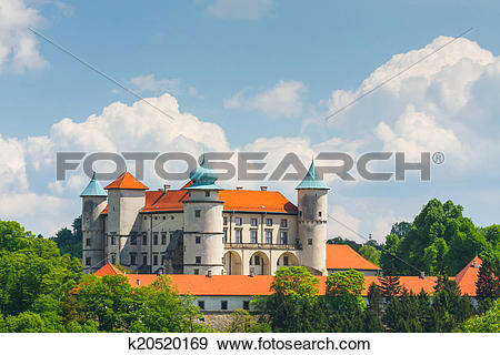 Stock Photograph of View of Nowy Wisnicz castle, Poland k20520169.