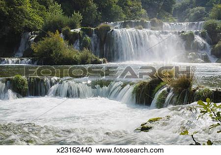 Stock Photography of Waterfall in Krka National Park, Dalmatia.