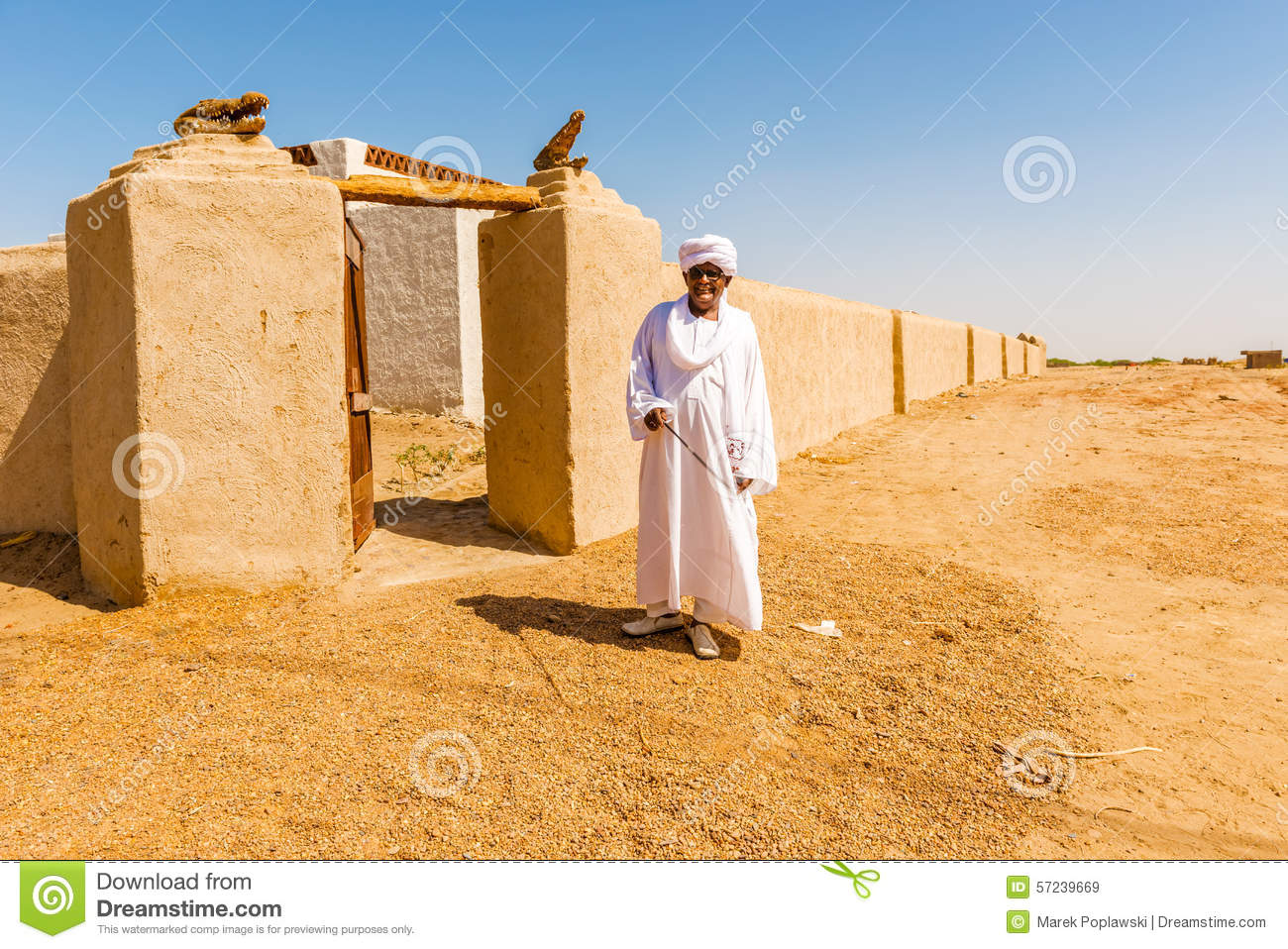 Nubian Village In Sudan Stock Photo.