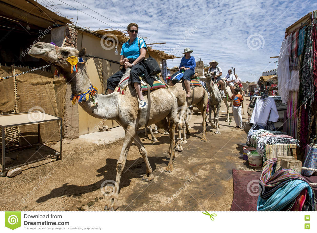 Tourists Aboard Camels In The Nubian Village Of Garb.