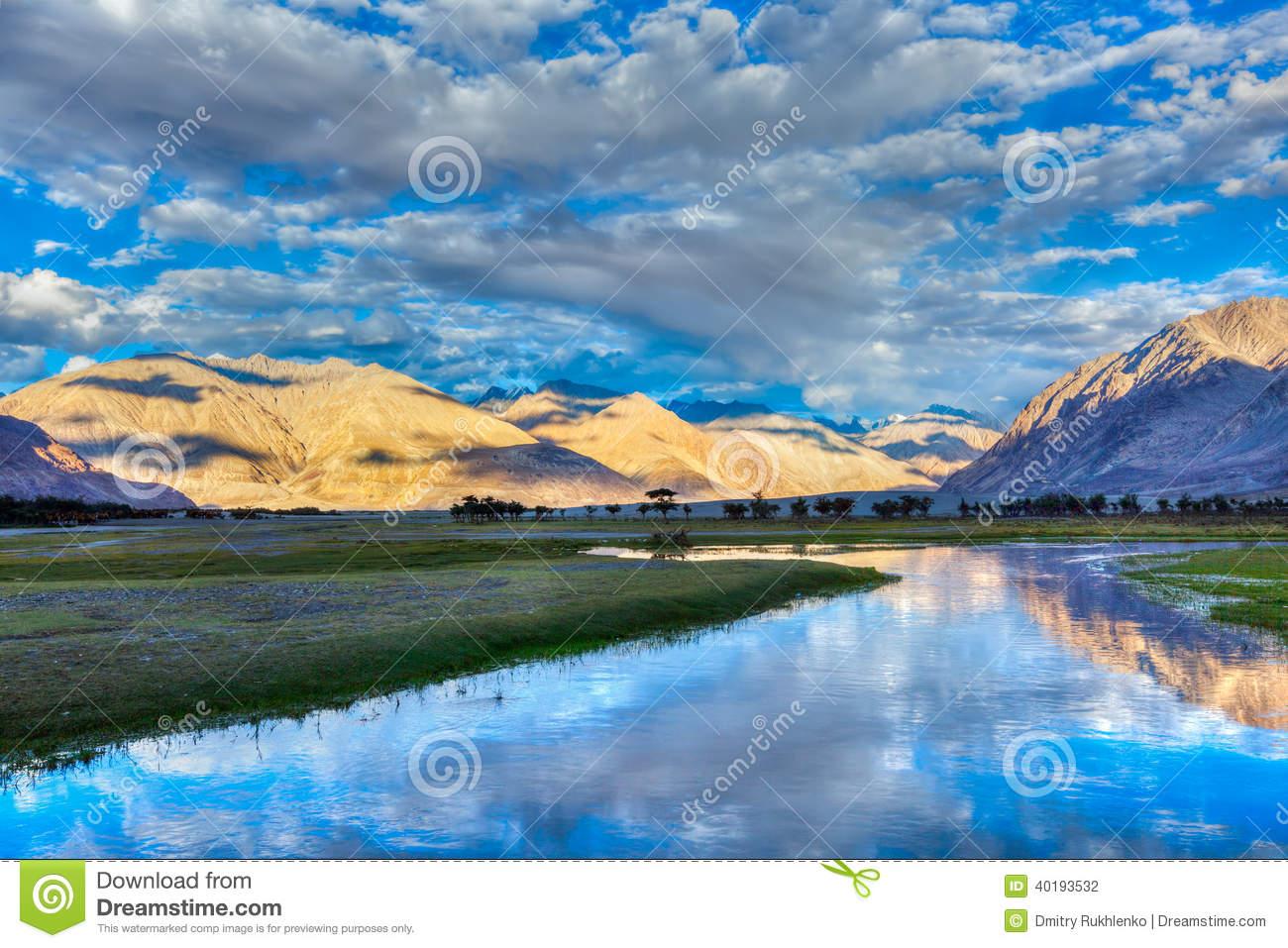 Nubra River In Nubra Valley In Himalayas Stock Photo.