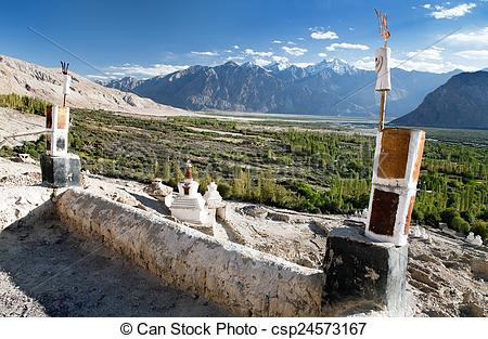 Stock Image of Nubra valley from roof of royal castle.