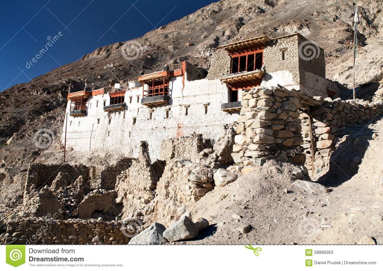 Ruins Of Royal Palace In Tiger, Nubra Valley Stock Photo.