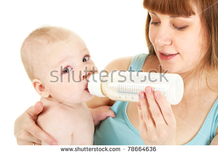 Careful Mother Holds Bottle Milk While Stock Foto 78664636.