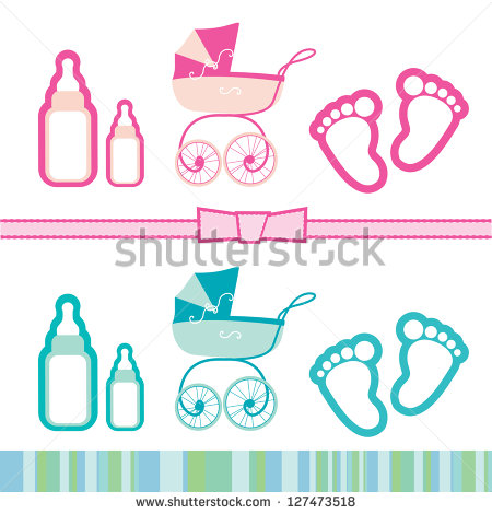 Baby Boy Shower Design Icons Stock.