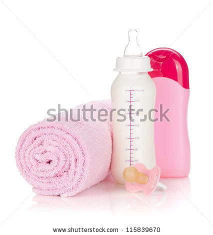 Baby Bottle Milk Pacifier Pink Blanket Stock Foto 35263138.