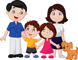 Nuclear family clipart black and white.