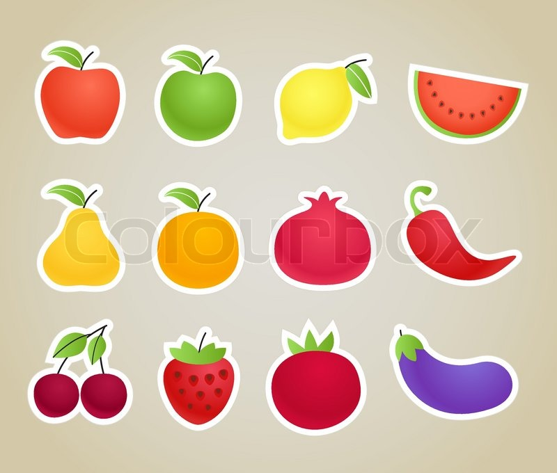 Vector fruit and vegetables silhouettes clip.