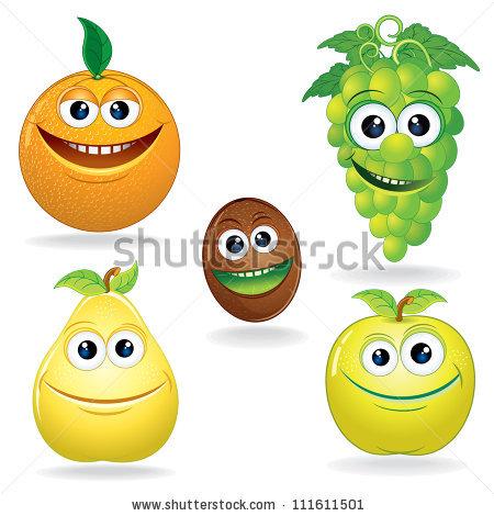Various Funny Cartoon Fruits Colorful Vector Stock Vector.