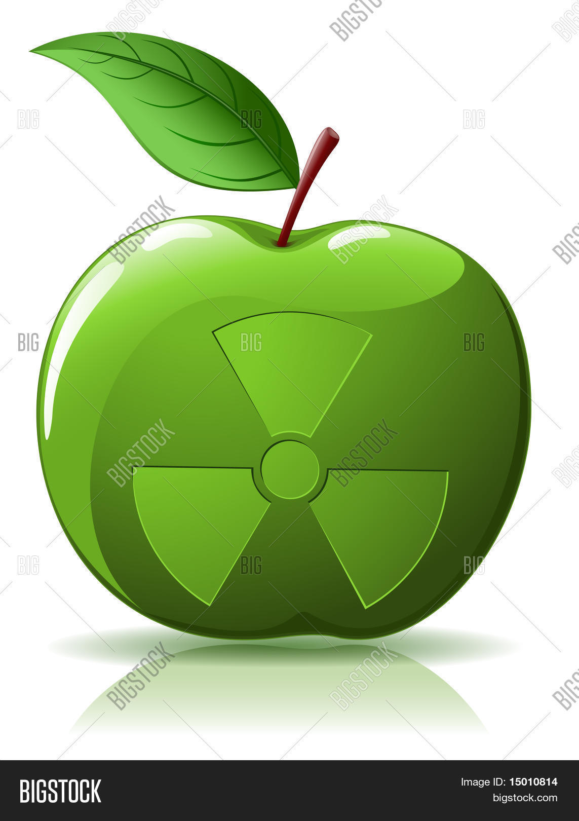 Green Apple With Nuclear Sing Stock Vector & Stock Photos.