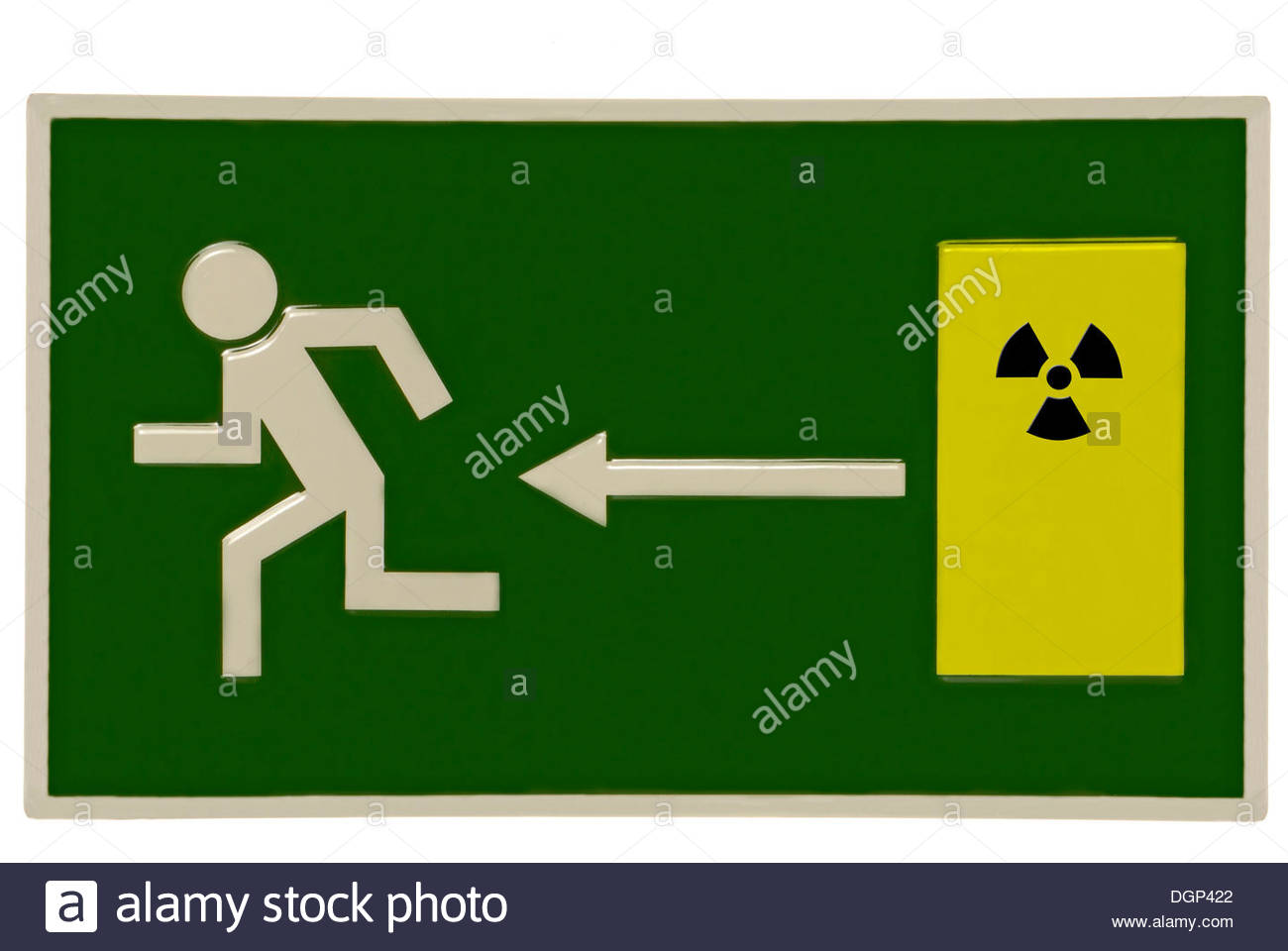 Escape Sign With Atomic Symbol, Symbolic Image For Nuclear Power.