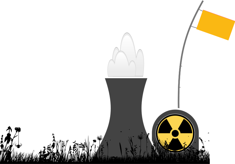 Free Clipart: Nuclear power plant with grass silhouette.