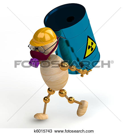 Drawing of 3d wood man with a radioactive waste k6015743.