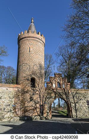 Stock Photographs of city wall,weir,neubrandenburg.