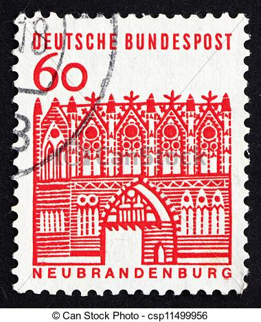 Stock Images of Postage stamp Germany 1964 Treptow Gate.