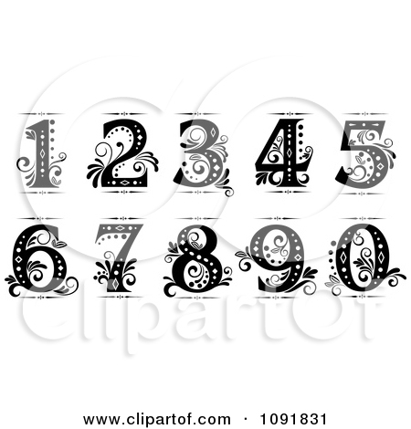 Clipart Brown And Turquoise Vintage Numbers.