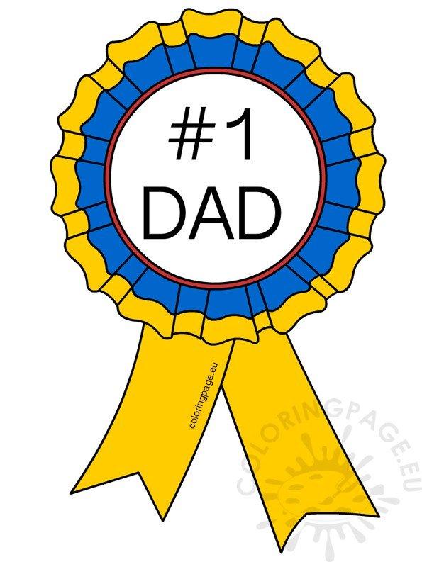 Number 1 Dad Ribbon Rosette illustration.