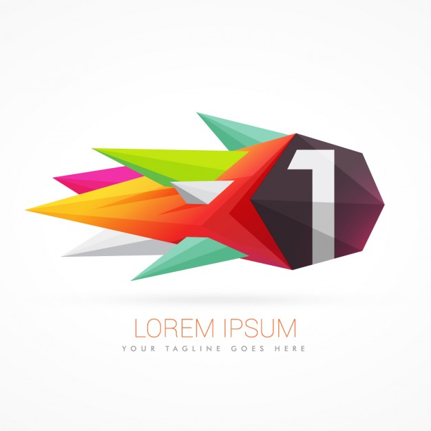 Colorful abstract logo with number 1 Vector.