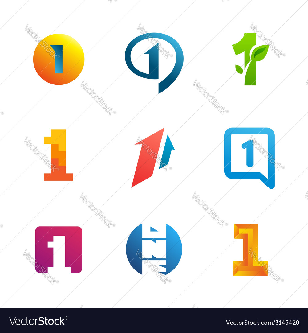 Set of number one 1 logo icon design template.