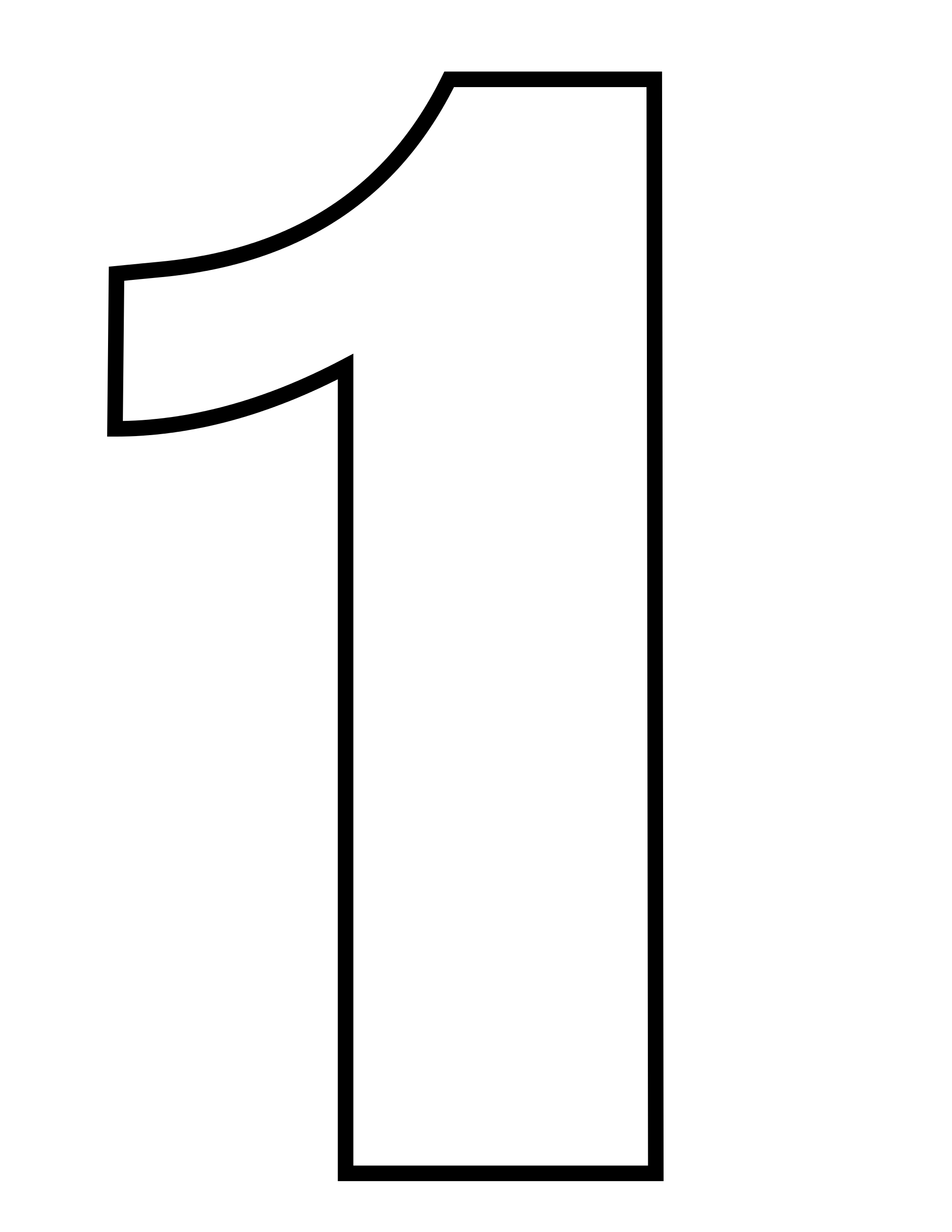 Number 1 Black & White PNG Transparent Image #2.