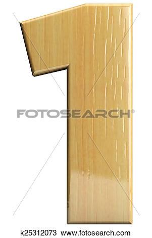 Stock Photo of Wooden letter 1 k25312073.