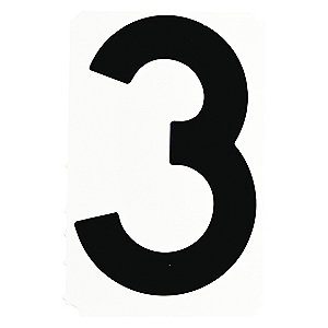 BRADY Number Label, 3, Black, 4
