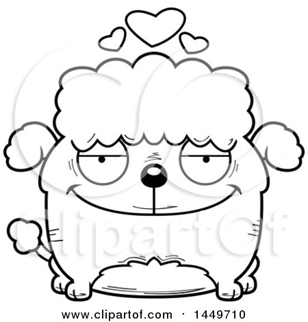 Clipart Graphic of a Cartoon Black and White Lineart Loving Poodle.