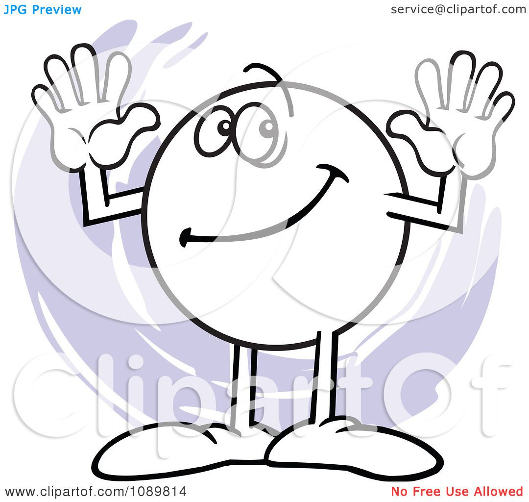 Clipart Moodie Character Counting Number 10 With His Fingers.