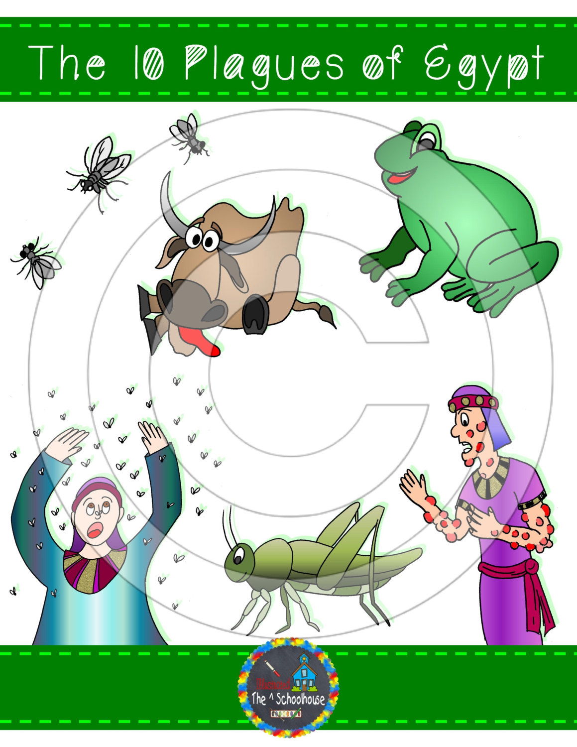 The 10 Plagues of Egypt Clipart in Color and Black & White.