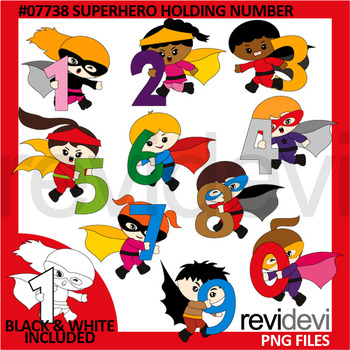 Superhero Holding Number Clip Art.