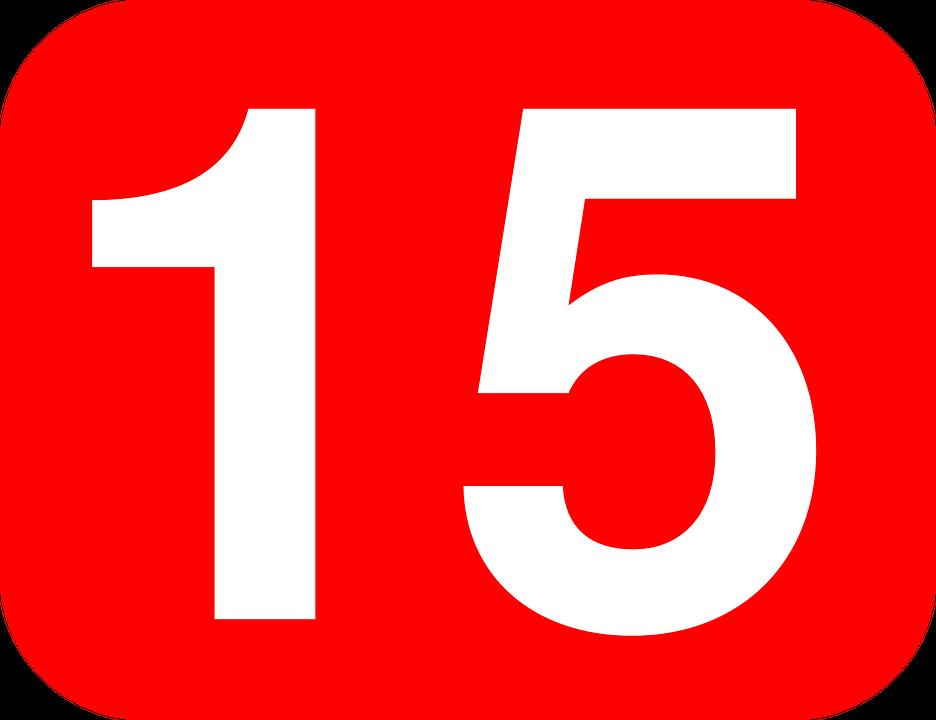 Number 15 Fifteen.