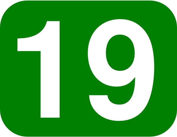 Green Rounded Rectangle With Number 19 clip art Free vector.