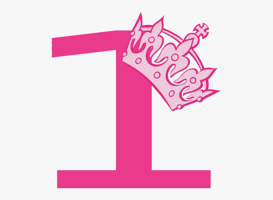 1st Birthday Pink Tiara Clipart.
