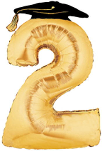 Gold Number 2 Balloon with Grad Cap, Large Number 2 Balloons are.