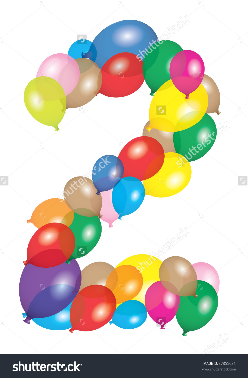 Number 2 Like Balloon Stock Illustration 87855631.