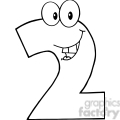 number 2 clipart black and white #6
